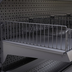 BROOKLYN | Trenn Gitter H9,5xL37cm | Tego Einsteck Trenn Fach Gitter Boden Abteil Teiler Gondel Metall Mittel Raum Laden Verkaufs Markt Supermarkt Kiosk Waren Lebensmittel Drogerie