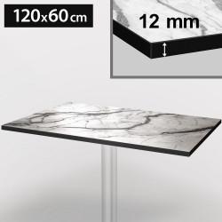 Bistro Terrassen Tischplatte | 120x60cm | Weiß Mamor | 100% HPL | Compact Werzalit Restaurant Gastro Garten Wetterfest Outdoor Aussen Tisch Gastronomie Stehtisch Möbel
