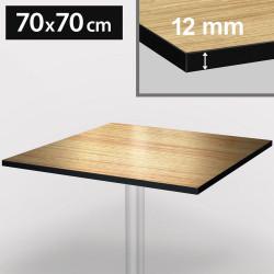 Bistro Terrassen Tischplatte   70x70cm   Light Wenge   100% HPL   Compact Werzalit Garten Outdoor Aussen Gastro Restaurant Wetterfest Tisch Gastronomie Stehtisch Möbel