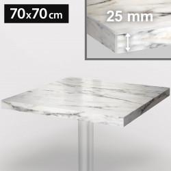 ITALIA Bistro Tischplatte   70x70cm   Weiß Marmor   Holz   Gastro Restaurant Holztischplatte Tisch Gastronomie Stehtisch Möbel