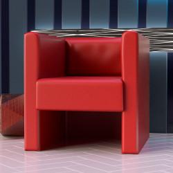 LINO   Würfel Sessel   Leder   Rot    Cube Lounge Cocktail Bistro Gastro Hotel Restaurant Disco