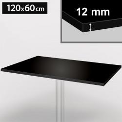 Bistro Terrassen Tischplatte | 120x60cm | Schwarz | 100% HPL | Compact Werzalit Restaurant Gastro Garten Wetterfest Outdoor Aussen Tisch Gastronomie Stehtisch Möbel