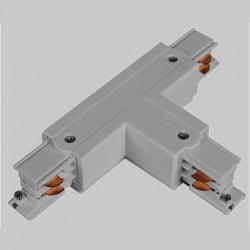 Aufbau T. Verbinder mit Einspeiser | 110V - 415V | Hell Grau | 3 Phasen | Hochvolt  | Mittel Einspeisung Einspeiser Verbinder | Schutzleiter Universal Links & Rechts | Schienensystem Stromschiene Schiene