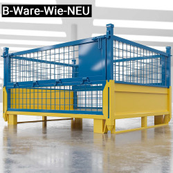 (B-Ware-Wie-NEU) EURO | Gitter Box B125xT100xH99cm | Klappbar | Gelb & Blau  | DB Lager Industrie