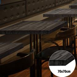 Bistro Tischplatte   70x70cm   Schwarz   Massiv Eiche   Voll Holz Tisch Platte Gastro Restaurant Stehtisch