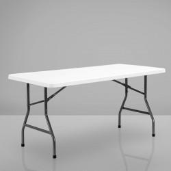 MIO Partytisch | 152cm | Weiß Party Buffettisch Festzelt Tisch Biertisch Bierzelttisch Campingtisch Partygarnitur Gartentisch Biertischgarnitur Bierzeltgarnitur Festzeltgarnitur