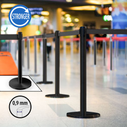 OSCAR   Personen Leitsystem 0,9mm   Schwarz   Band: 2m    Ständer Abgrenzungs Absperr Pfosten Gurt Airport Absperrung
