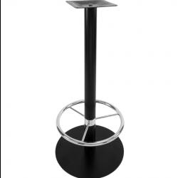 NIZZA FOOT | Bistro Steh Tisch Gestell | mit Fuß Ring | Ø45cm | 7,6x105cm | Schwarz  | Bar Fuß Bein Säule Rund