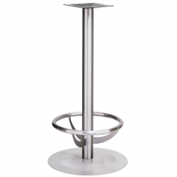 NIZZA FOOT | Bistro Steh Tisch Gestell | mit Fuß Ring | Ø45cm | 7,6x105cm | Edelstahl | Bar Fuß Bein Säule Rund