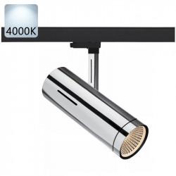 Strømskinne Spotlights LED | 10W | 4000K | Krom | 3-faset | Højvolt  | 3-faset Lampe . 3-faset Lys . Strømskinnespotlights . Strømskinne Spot . 3-faset Spotlights . 3-faset Spot . Skinnespotlights . Skinnespot . Skinnelys . Skinnelampe . Skinnesystem . Sp