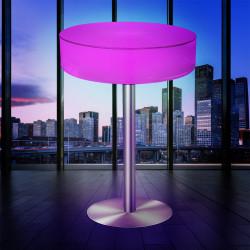 (Coco) Lounge Ståbord | LED RGB | Ø60xH110cm | Batteri | Udendørs Belyst Bar Loungebord Sofabord Lysmøbler Cocktailbord Sidebord Havebord Bistrobord Lampeobjekt Lysobjekt