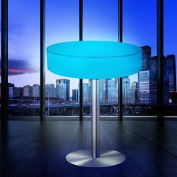 (Coco) Lounge Bord | LED RGB | Ø80xH75cm | Batteri | Udendørs Belyst Bar Loungebord Sofabord Lysmøbler Cocktailbord Sidebord Havebord Bistrobord Lampeobjekt Lysobjekt