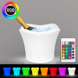 TROPIC Sektkühler | 4x0,75l | LED RGB | Akku | Champagnerkühler Eisbox Eiskübel Eiseimer Flaschenkühler Eiswürfelbehälter Eisbehälter Weinkühler Champagnerschale