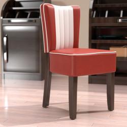 AMERICAN 1 Bistro Stuhl | Leder | Rot & Weiß  | Diner Gastro Restaurant Kneipen Hotel Kaffee Cafe Gaststätten Brasserie Eiscafe