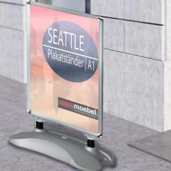 SEATTLE Plakatständer | A1 | Grau | Classic  | Kundenstopper Werbetafel Werbeaufsteller Gehwegaufsteller Werbeträger