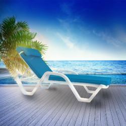 HAWAI Sonnenliege | Weiß  + Polsterauflage Blau | Stapelbar  | Hotel.Strandliege Hotel.Poolliege Hotel.Bäderliege