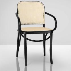 MALO Bistro Stuhl | Bugholz | Schwarz | Geflecht Naturell