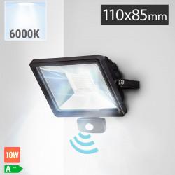 LED Fluter 10W + Bewegungsmelder | 6000K | Kaltweiß  | Sensor Flutlicht Flutlichtstrahler Aussenstrahler Aussenscheinwerfer Aussenfluter Sensorleuchte Sensorlampe