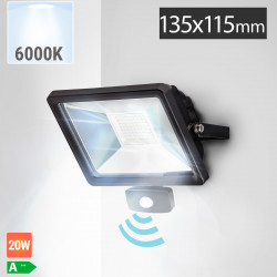 LED Fluter 20W + Bewegungsmelder | 6000K | Kaltweiß  | Flutlicht Sensor Flutlichtstrahler Aussenstrahler Aussenscheinwerfer Aussenfluter Sensorleuchte Sensorlampe