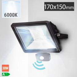 LED Fluter 30W + Bewegungsmelder | 6000K | Kaltweiß  | Flutlichtstrahler Sensor Flutlicht Aussenstrahler Aussenscheinwerfer Aussenfluter Sensorleuchte Sensorlampe