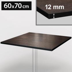 Bistro Terrassen Tischplatte | 60x70cm | Wenge | 100% HPL | Compact Werzalit Gastro Restaurant Garten Outdoor Aussen Wetterfest Tisch Gastronomie Stehtisch Möbel