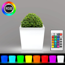 FLAMINGO Blumentopf Leuchte | LED RGB | 400x400mm | Akku | Beleuchteter Pflanztopf Blumenkübel Pflanzkübel Übertopf Kübel Lampe Gartentopf Gartenkübel