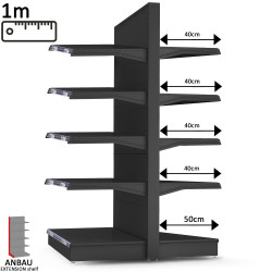 (Manhattan) Free-standing shelf extension W 100 x H 227 cm | Goods shelf Foodstuff shelf Central gondola Central gondola shelving Gondola shelving Shop shelf Retail shelf Market shelf Supermarket shelf Kiosk shelf Pharmacy shelf Shop fittings Shop equipme