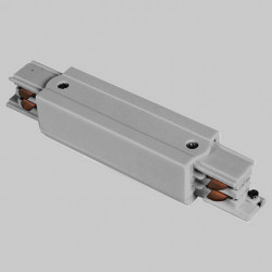 Surface-mounted longitudinal connector with feeder | 110 V - 415 V | Light grey | 3 phases | High voltage | 3-phase connector - Central feed - Central feeder | Protective conductor right and left | Surface-mounted track . Surface-mounted busbar . 3-phase