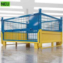 EURO | Gitter Box B125xT100xH99cm | Klappbar | Gelb & Blau  | DB Lager Industrie