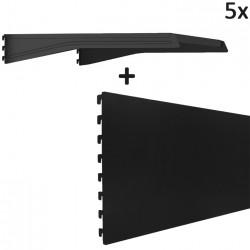 MANHATTAN 5x Gondel Regalboden + 5x Gondel Regal Rückwand