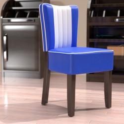 AMERICAN 1 Bistro Stuhl | Leder | Blau & Weiß  | Diner Gastro Restaurant Kneipen Kaffee Cafe Hotel Gaststätten Brasserie Eiscafe
