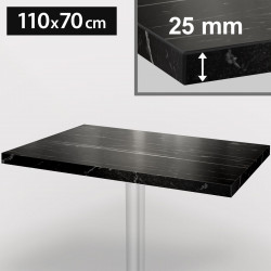 ITALIA Bistro Tischplatte   110x70cm   Schwarz Marmor   Holz   Gastro Restaurant Holztischplatte Tisch Gastronomie Stehtisch Möbel