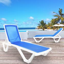 FLORIDA Sonnenliege   Netz Blau   Stapelbar    Hotel Strandliege.Stapelbar Poolliege.Stapelbar Bäderliege.Stapelbar