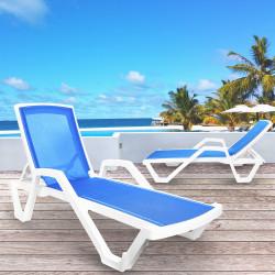 FLORIDA Sonnenliege + Arm   Netz Blau   Stapelbar    Hotel Strandliege.Stapelbar Poolliege.Stapelbar Bäderliege.Stapelbar