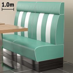 (NEW) American 2 | Gastro Bank | B100xH128cm | Türkis & Weiß  | Diner Bistro Sitzbank Lounge Polster Restaurant