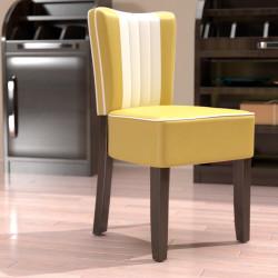 AMERICAN 1 Bistro Stuhl | Leder | Gelb & Weiß  | Diner Gastro Restaurant Kneipen Hotel Kaffee Cafe Gaststätten Brasserie Eiscafe