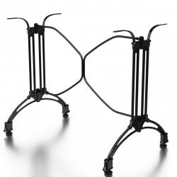 MALAGA Bistro Terrassen Doppeltischgestell | H72cm | Schwarz | Gusseisen Optik | 2+2 Fuß | Outdoor  | Doppel Tischgestell Tisch Gestell Tischfuß Tischbein Untergestell Tischsäule