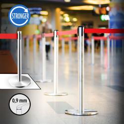 OSCAR   Personen Leitsystem 0,9mm   Chrom   Band: 2m    Ständer Abgrenzungs Absperr Pfosten Gurt Airport Absperrung