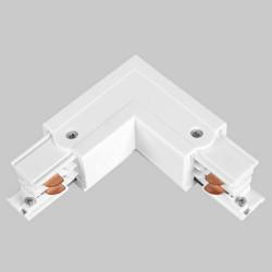 Einbau L. Verbinder mit Einspeiser | 110V - 415V | Weiß | 3 Phasen | Hochvolt  | Mittel Einspeisung Einspeiser Verbinder | Schutzleiter Universal Links & Rechts | Schienensystem Stromschiene Schiene Flügel