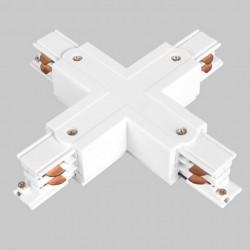 Aufbau X. Verbinder mit Einspeiser | 110V - 415V | Weiß | 3 Phasen | Hochvolt  | Mittel Einspeisung Einspeiser Verbinder | Schutzleiter Universal Links & Rechts | Schienensystem Stromschiene Schiene