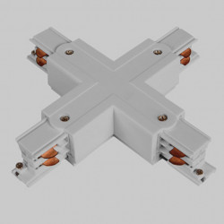 Aufbau X. Verbinder mit Einspeiser | 110V - 415V | Hell Grau | 3 Phasen | Hochvolt  | Mittel Einspeisung Einspeiser Verbinder | Schutzleiter Universal Links & Rechts | Schienensystem Stromschiene Schiene