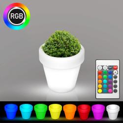FLORA Blumentopf Leuchte | LED RGB | Ø160xH150mm | Akku | Beleuchteter Blumenkübel Pflanzkübel Pflanztopf Übertopf Kübel Lampe Gartentopf Gartenkübel
