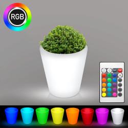 FLORA Blumentopf Leuchte | LED RGB | Ø280xH300mm | Akku | Beleuchteter Pflanzkübel Blumenkübel Pflanztopf Übertopf Kübel Lampe Gartentopf Gartenkübel