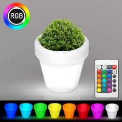 FLORA Blumentopf Leuchte | LED RGB | Ø320xH300mm | Akku | Beleuchteter Pflanzkübel Blumenkübel Pflanztopf Übertopf Kübel Lampe Gartentopf Gartenkübel