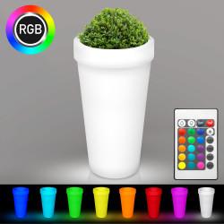 FLORA Blumentopf Leuchte | LED RGB | Ø480xH950mm | Akku | Beleuchteter Übertopf Blumenkübel Pflanzkübel Pflanztopf Kübel Lampe Gartentopf Gartenkübel