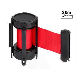 HENRY Wandgurtkassette | 2m | Rot  | Wandgurt Gurtkassette Absperrgurt Personenleitsystem Abgrenzungsständer