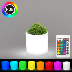LOTUS Blumentopf Leuchte | LED RGB | Ø400xH400mm | Akku | Beleuchteter Blumenkübel Pflanzkübel Pflanztopf Übertopf Kübel Lampe Gartentopf Gartenkübel
