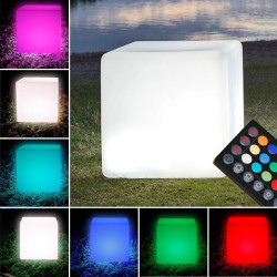 PARADISO Lounge Leuchtwürfel 30x30cm | LED RGB | Akku | Aussen Sitzwürfel Leuchte Würfelleuchte Leuchtmöbel Würfel Garten Lampe Leuchtobjekt Lichtobjekt
