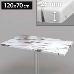 Werzalit - Bistro Tischplatte   120x70cm   Weiß Marmor    Topalit Hpl Compact Kompakt Gastro Restaurant Terrassen Garten Outdoor Aussen Wetterfest Tisch Gastronomie Stehtisch Möbel