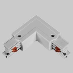 Aufbau L. Verbinder mit Einspeiser | 110V - 415V | Hell Grau | 3 Phasen | Hochvolt  | Mittel Einspeisung Einspeiser Verbinder | Schutzleiter Universal Links & Rechts | Schienensystem Stromschiene Schiene